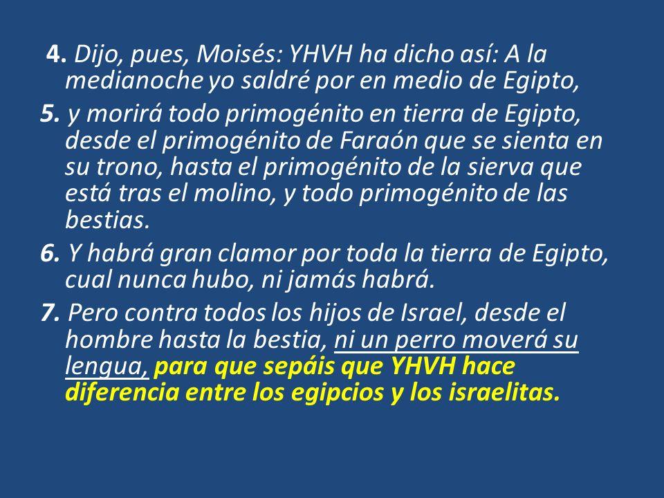 4. Dijo, pues, Moisés: YHVH ha dicho así: A la medianoche yo saldré por en medio de Egipto, 5.