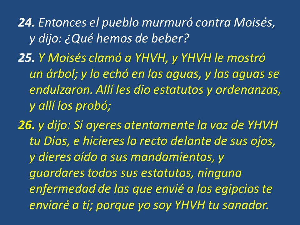 24. Entonces el pueblo murmuró contra Moisés, y dijo: ¿Qué hemos de beber