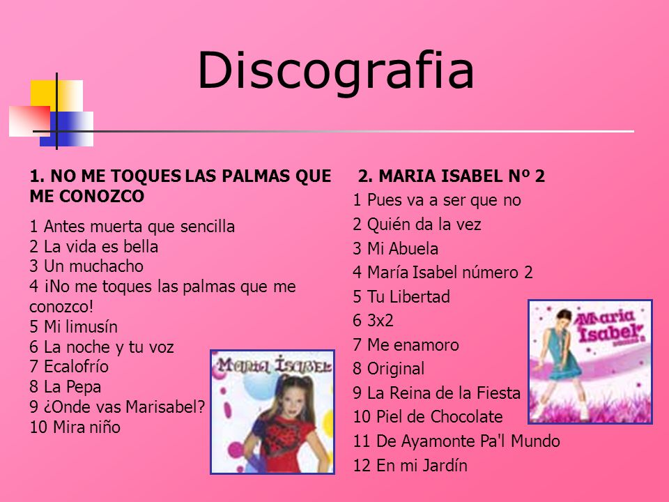 Discografia 1. NO ME TOQUES LAS PALMAS QUE ME CONOZCO