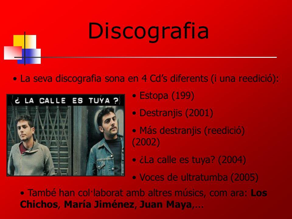 Discografia La seva discografia sona en 4 Cd's diferents (i una reedició): Estopa (199) Destranjis (2001)