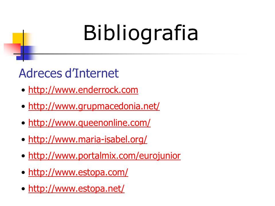 Bibliografia Adreces d'Internet http://www.enderrock.com