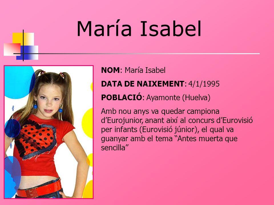 María Isabel NOM: María Isabel DATA DE NAIXEMENT: 4/1/1995