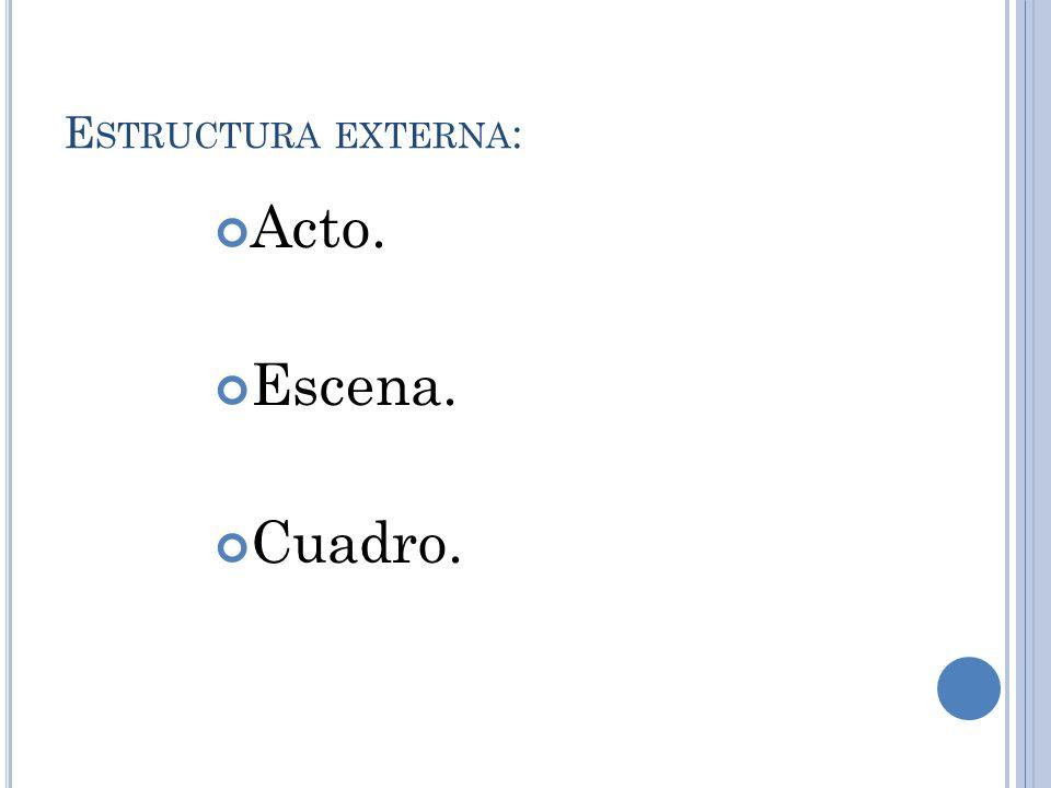 Estructura externa: Acto. Escena. Cuadro.