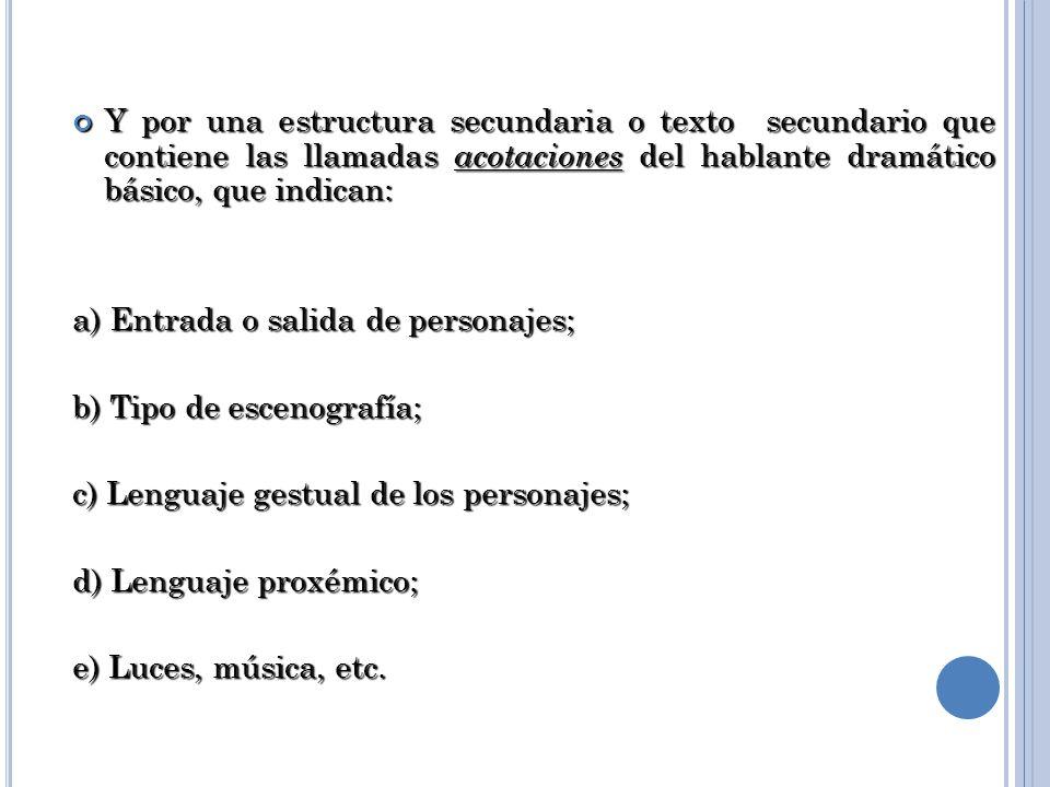 Y por una estructura secundaria o texto secundario que contiene las llamadas acotaciones del hablante dramático básico, que indican: