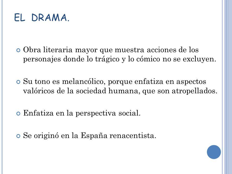 EL DRAMA. Obra literaria mayor que muestra acciones de los personajes donde lo trágico y lo cómico no se excluyen.
