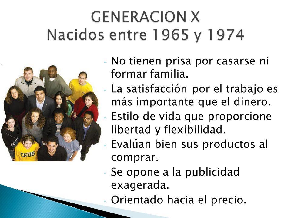 GENERACION X Nacidos entre 1965 y 1974