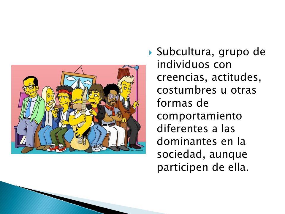 Subcultura, grupo de individuos con creencias, actitudes, costumbres u otras formas de comportamiento diferentes a las dominantes en la sociedad, aunque participen de ella.
