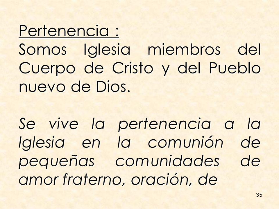 Pertenencia :Somos Iglesia miembros del Cuerpo de Cristo y del Pueblo nuevo de Dios.