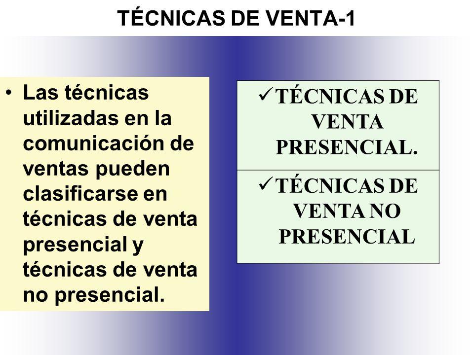 TÉCNICAS DE VENTA PRESENCIAL. TÉCNICAS DE VENTA NO PRESENCIAL