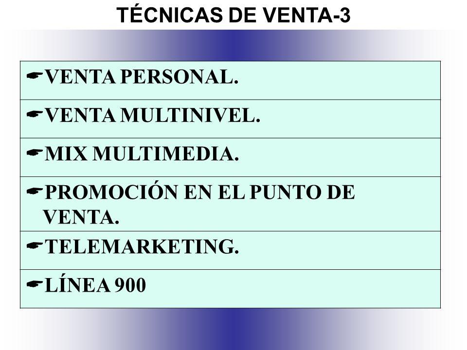 TÉCNICAS DE VENTA-3 VENTA PERSONAL. VENTA MULTINIVEL. MIX MULTIMEDIA. PROMOCIÓN EN EL PUNTO DE VENTA.