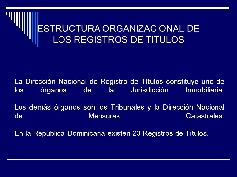 ESTRUCTURA ORGANIZACIONAL DE LOS REGISTROS DE TITULOS