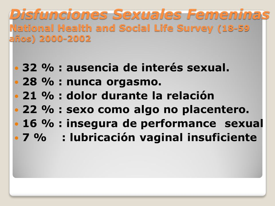 Disfunciones Sexuales Femeninas National Health and Social Life Survey (18-59 años) 2000-2002