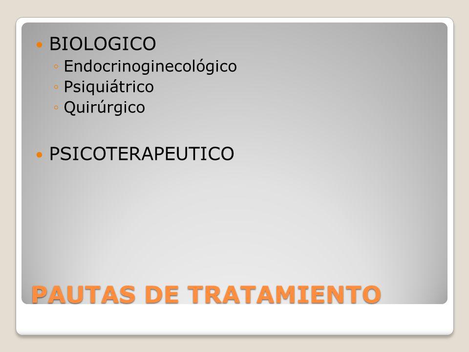 PAUTAS DE TRATAMIENTO BIOLOGICO PSICOTERAPEUTICO Endocrinoginecológico