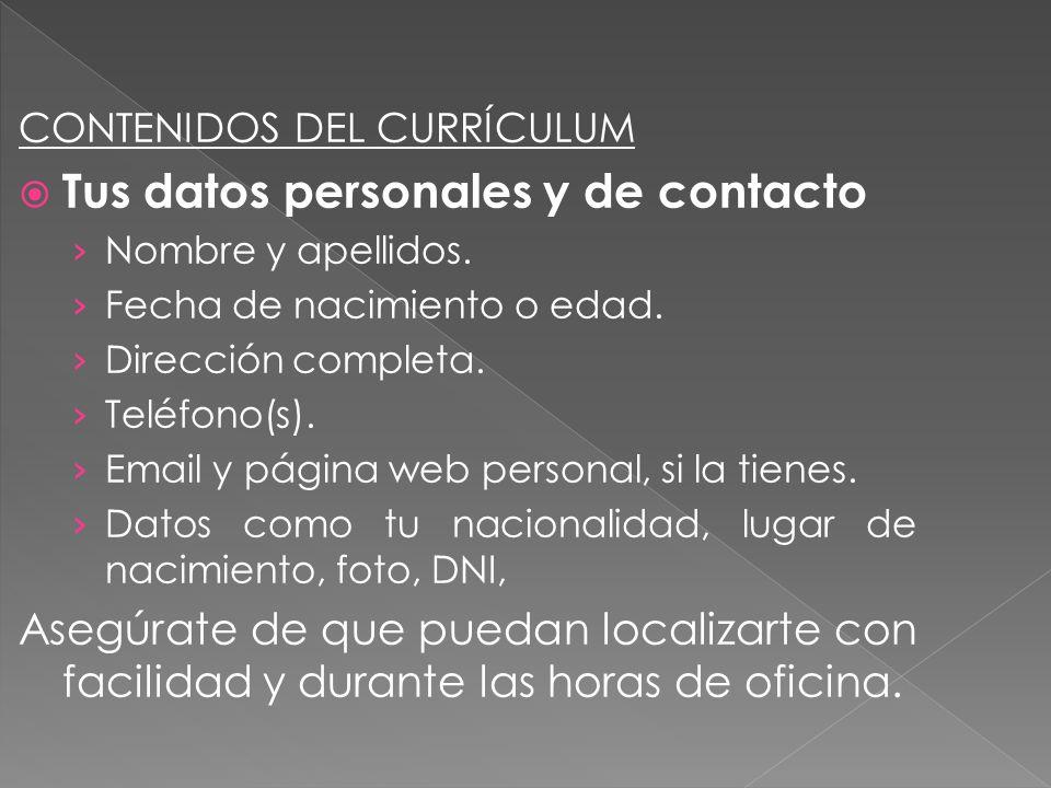 Tus datos personales y de contacto