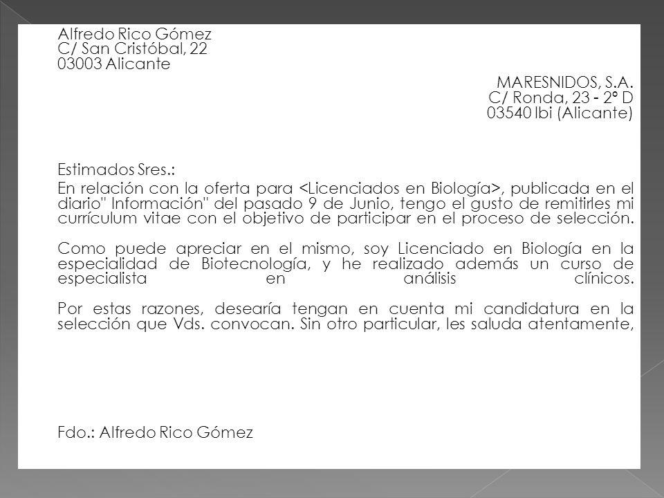 MARESNIDOS, S.A. C/ Ronda, 23 - 2º D 03540 Ibi (Alicante)