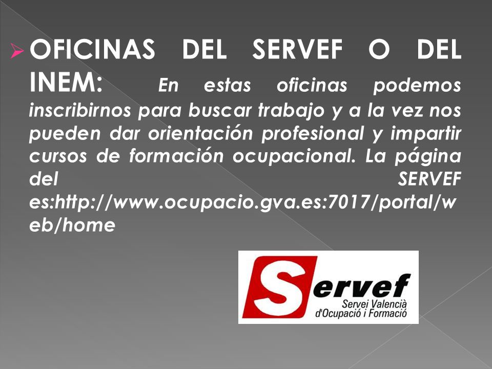 Programa de orientaci n laboral ppt descargar for Inem oficina virtual de empleo