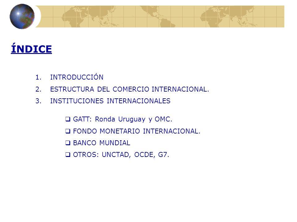 ÍNDICE INTRODUCCIÓN ESTRUCTURA DEL COMERCIO INTERNACIONAL.
