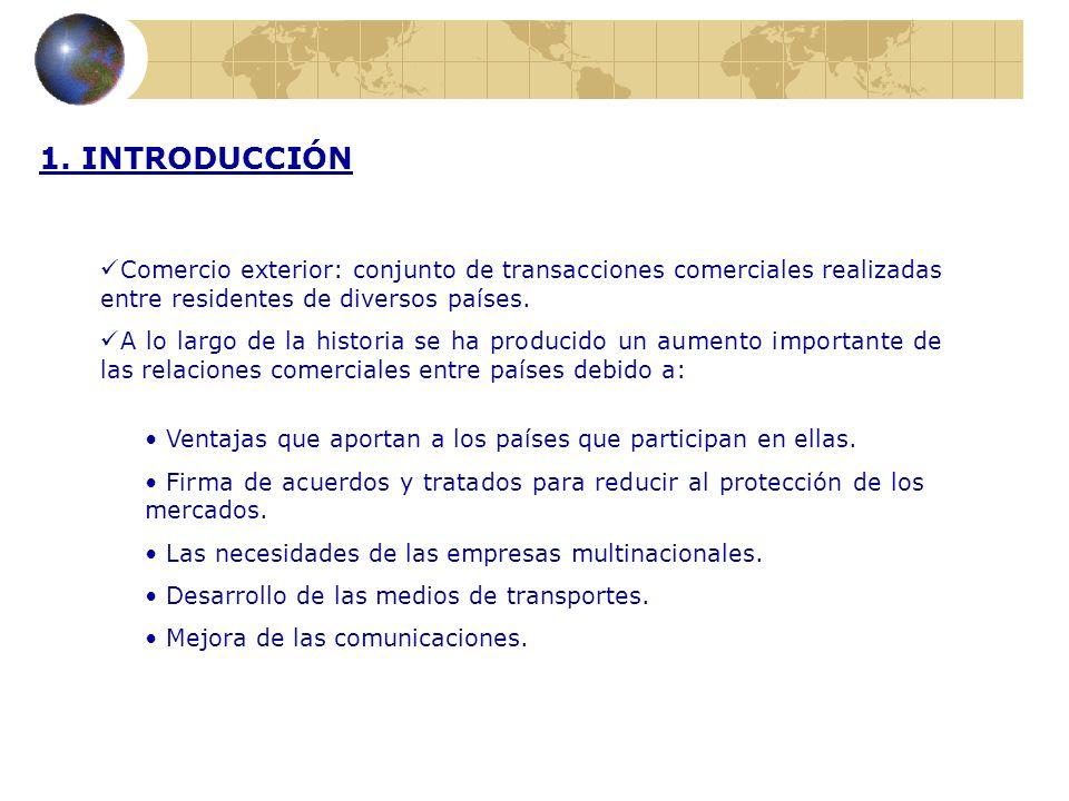 1. INTRODUCCIÓN Comercio exterior: conjunto de transacciones comerciales realizadas entre residentes de diversos países.