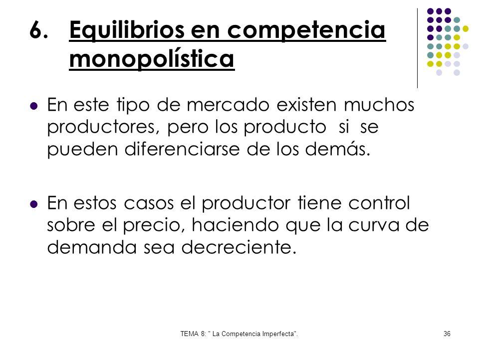 Equilibrios en competencia monopolística