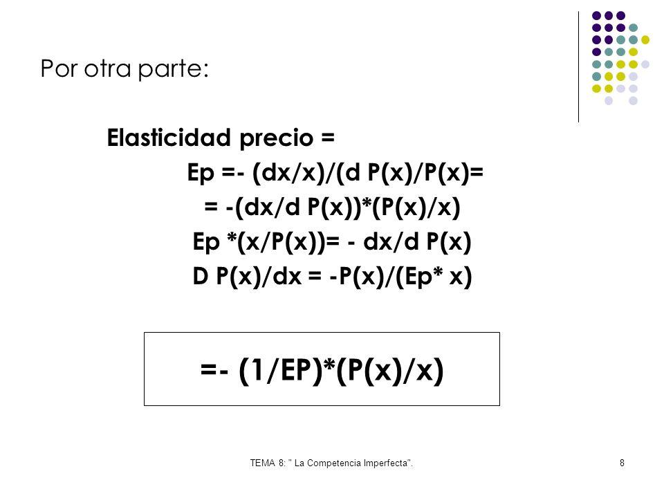 =- (1/EP)*(P(x)/x) Por otra parte: Elasticidad precio =