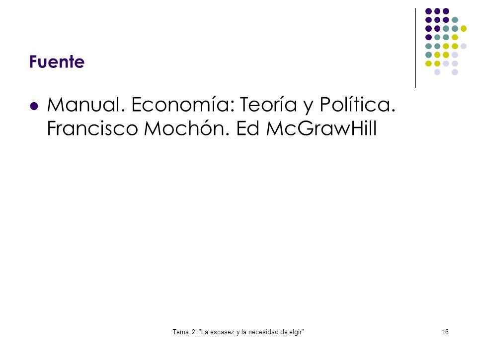 Tema 2: La escasez y la necesidad de elgir
