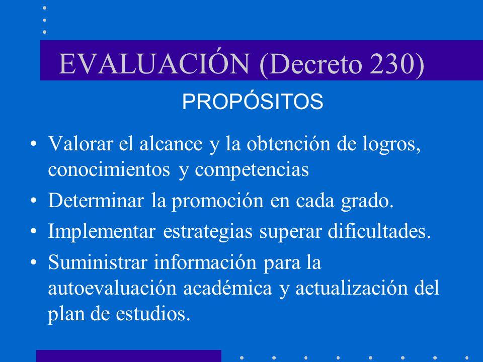 EVALUACIÓN (Decreto 230) PROPÓSITOS