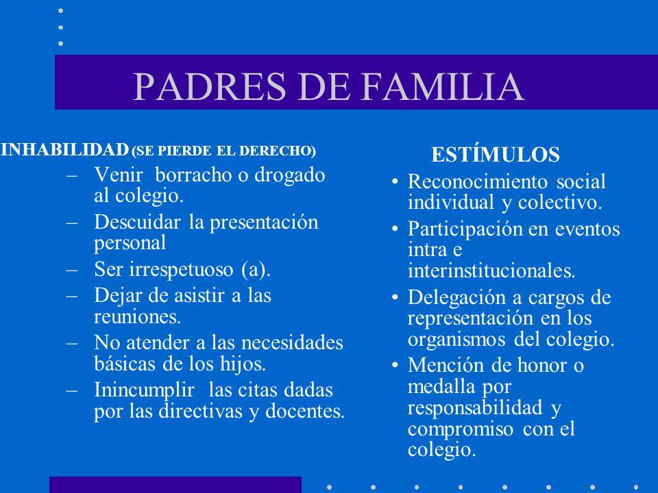 PADRES DE FAMILIA Venir borracho o drogado al colegio. ESTÍMULOS