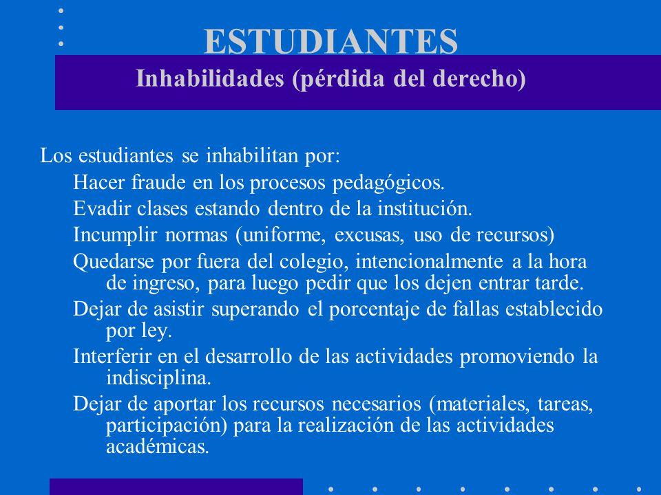 ESTUDIANTES Inhabilidades (pérdida del derecho)