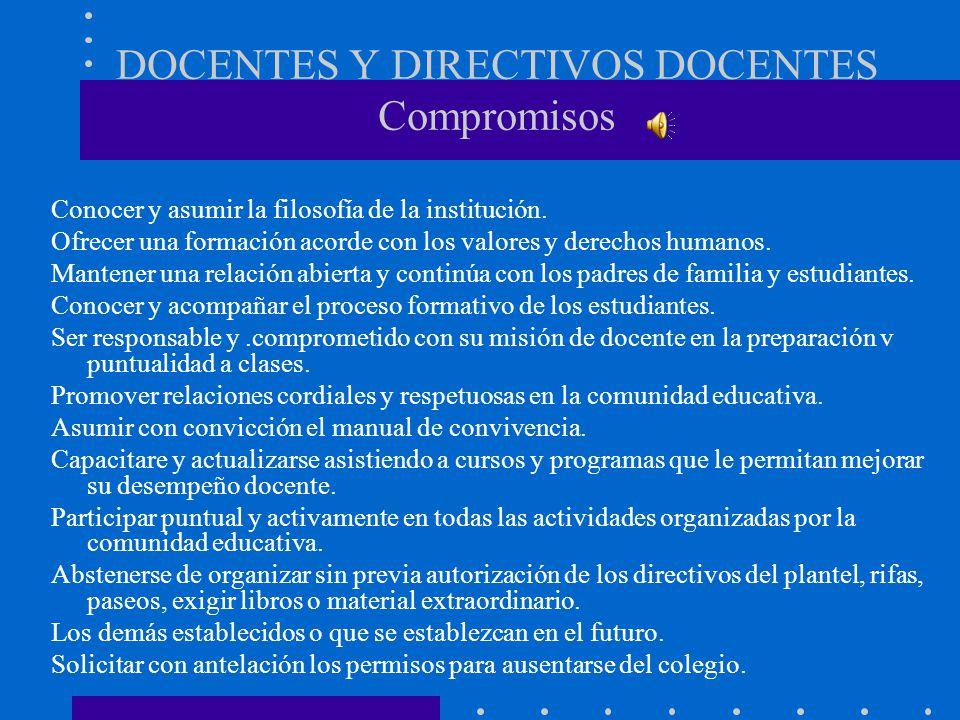 DOCENTES Y DIRECTIVOS DOCENTES Compromisos