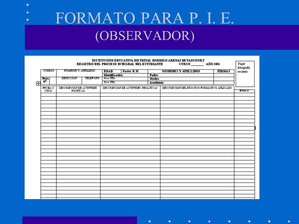 FORMATO PARA P. I. E. (OBSERVADOR)