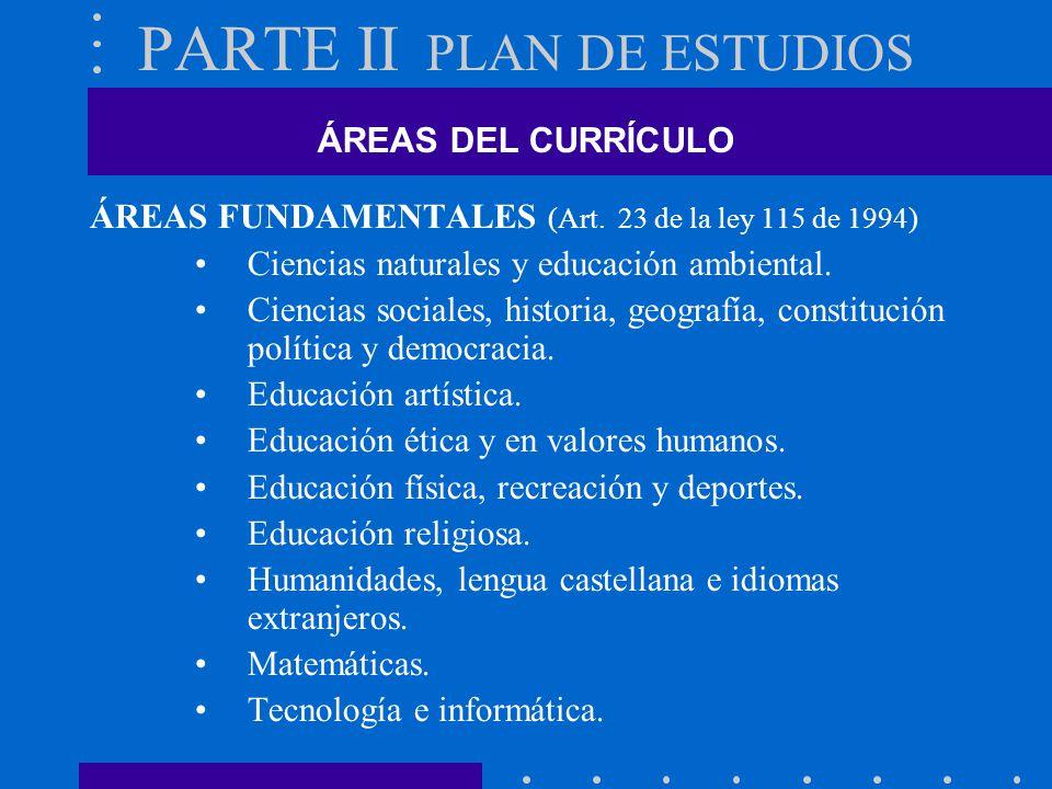 PARTE II PLAN DE ESTUDIOS