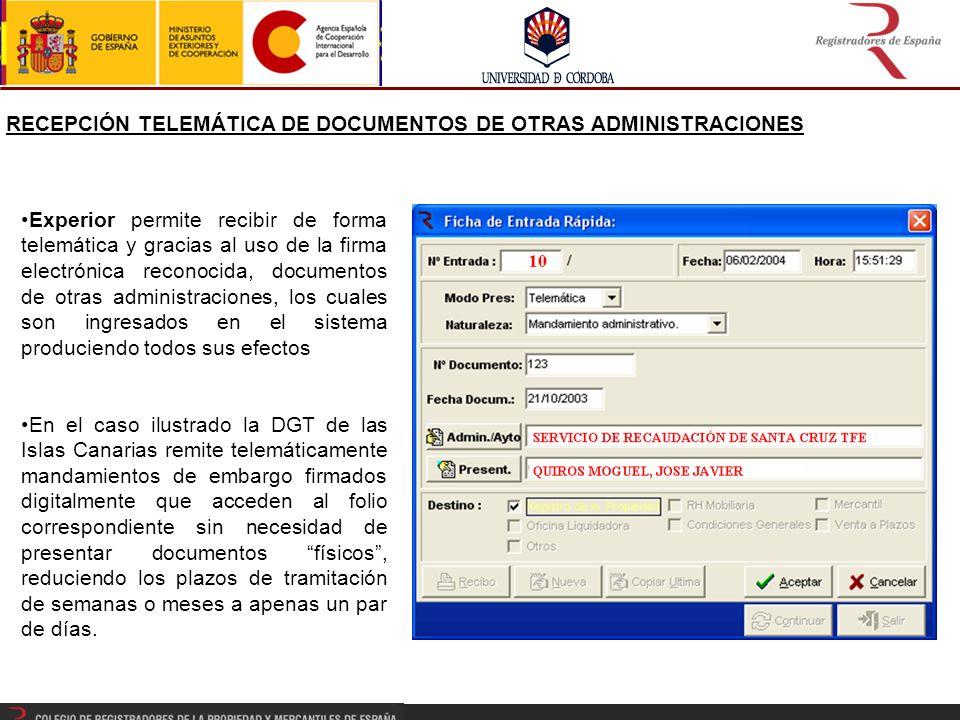 RECEPCIÓN TELEMÁTICA DE DOCUMENTOS DE OTRAS ADMINISTRACIONES