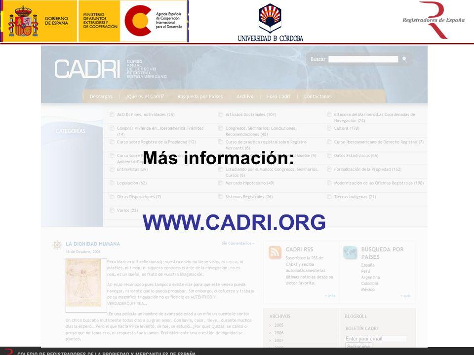 Más información: WWW.CADRI.ORG