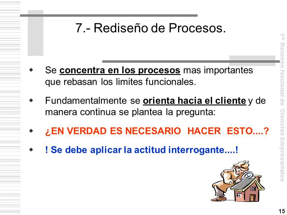 7.- Rediseño de Procesos. Se concentra en los procesos mas importantes que rebasan los limites funcionales.