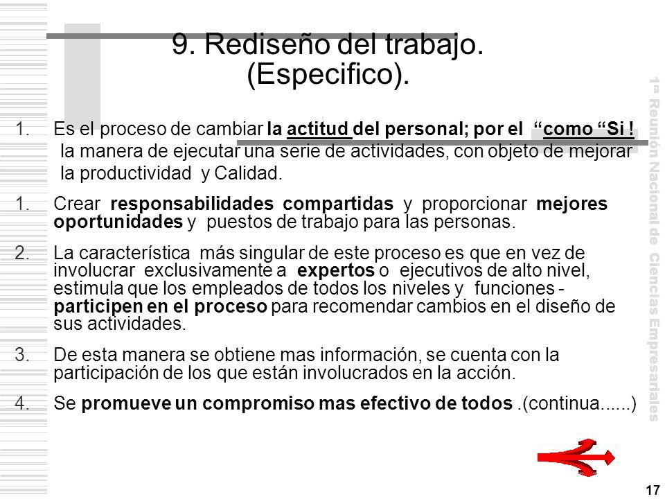 9. Rediseño del trabajo. (Especifico).