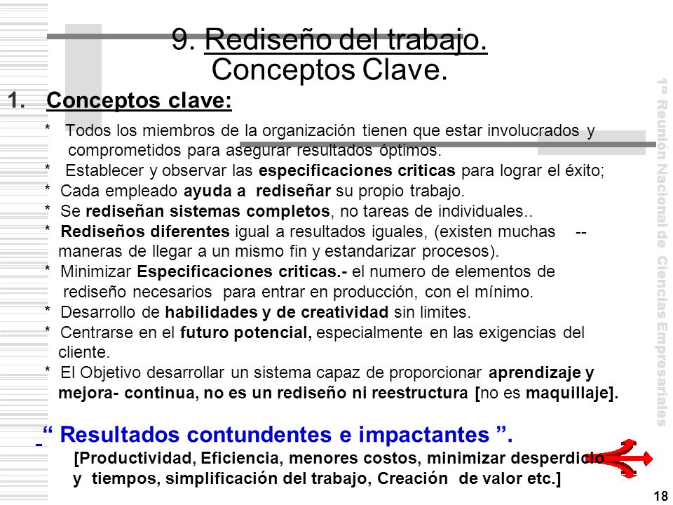 9. Rediseño del trabajo. Conceptos Clave.