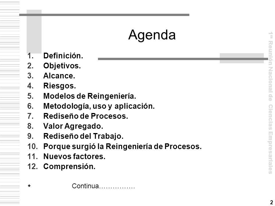 Agenda Definición. Objetivos. Alcance. Riesgos.
