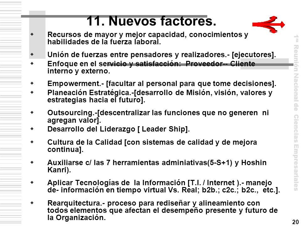 11. Nuevos factores. Recursos de mayor y mejor capacidad, conocimientos y habilidades de la fuerza laboral.