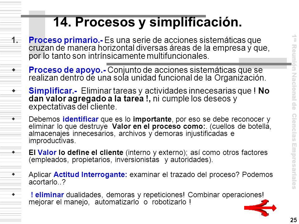 14. Procesos y simplificación.