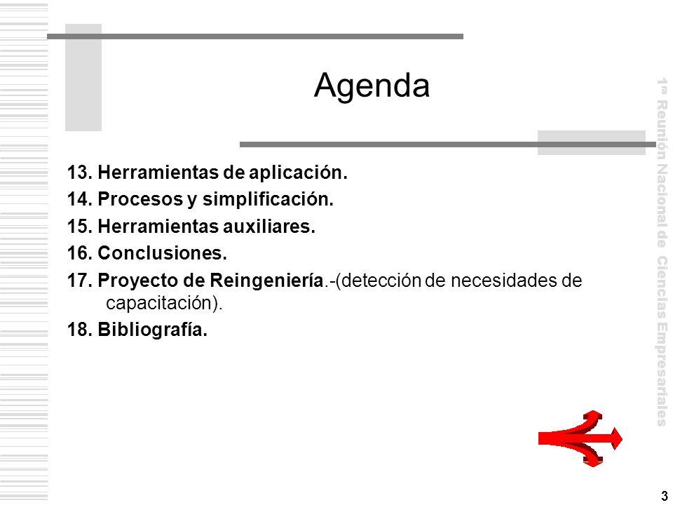 Agenda 13. Herramientas de aplicación. 14. Procesos y simplificación.