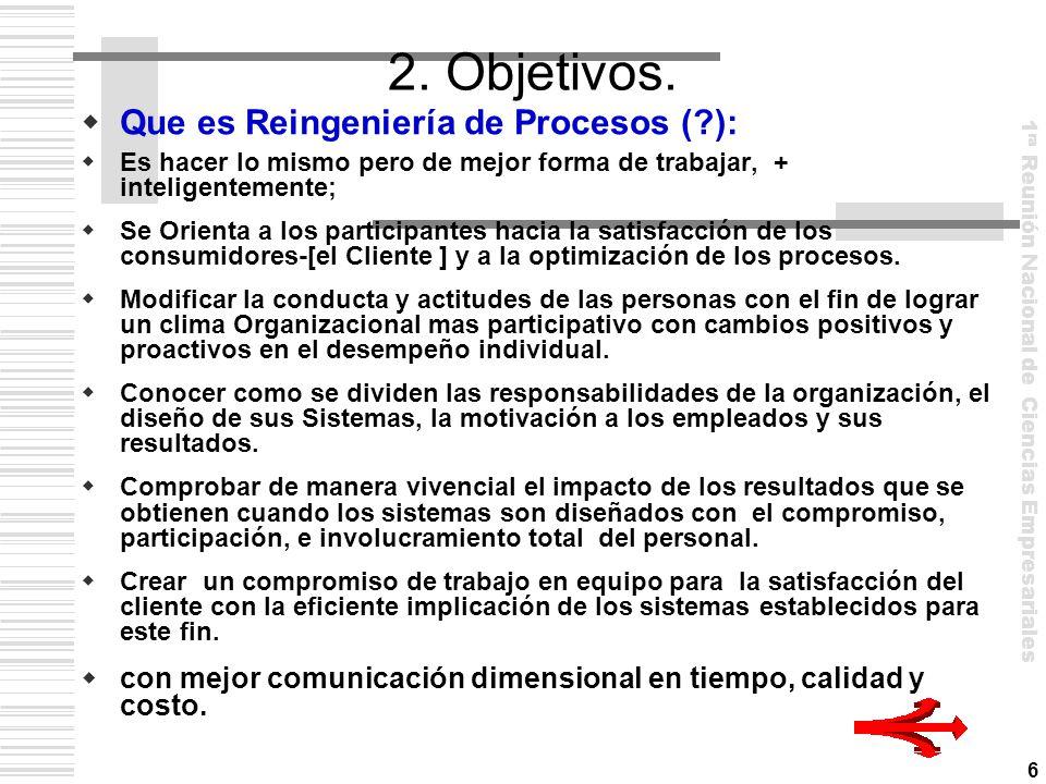 2. Objetivos. Que es Reingeniería de Procesos ( ):