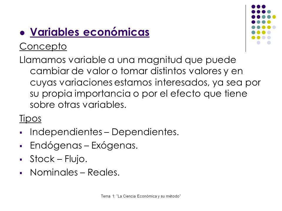 Tema 1: La Ciencia Económica y su método