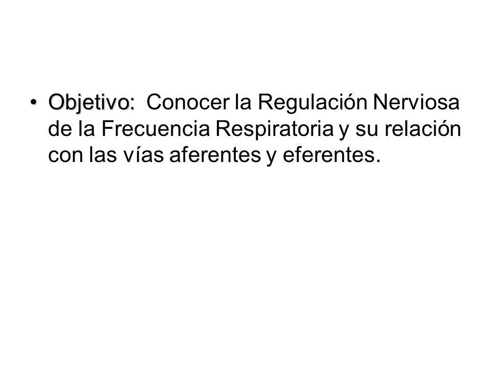 Objetivo: Conocer la Regulación Nerviosa de la Frecuencia Respiratoria y su relación con las vías aferentes y eferentes.