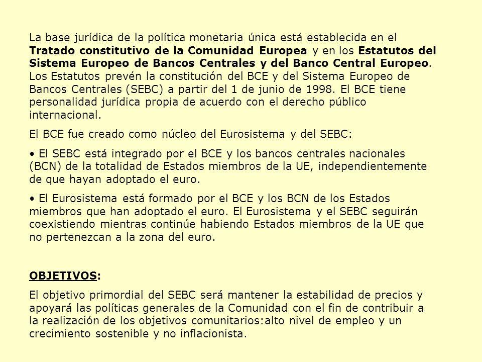 La base jurídica de la política monetaria única está establecida en el Tratado constitutivo de la Comunidad Europea y en los Estatutos del Sistema Europeo de Bancos Centrales y del Banco Central Europeo. Los Estatutos prevén la constitución del BCE y del Sistema Europeo de Bancos Centrales (SEBC) a partir del 1 de junio de 1998. El BCE tiene personalidad jurídica propia de acuerdo con el derecho público internacional.