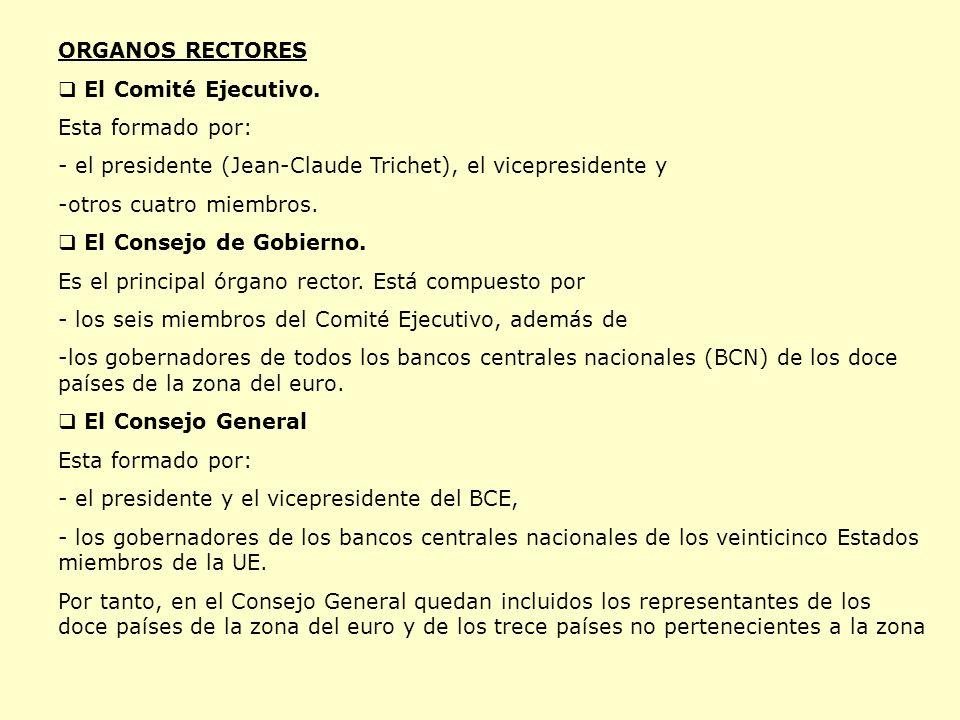 ORGANOS RECTORES El Comité Ejecutivo. Esta formado por: - el presidente (Jean-Claude Trichet), el vicepresidente y.
