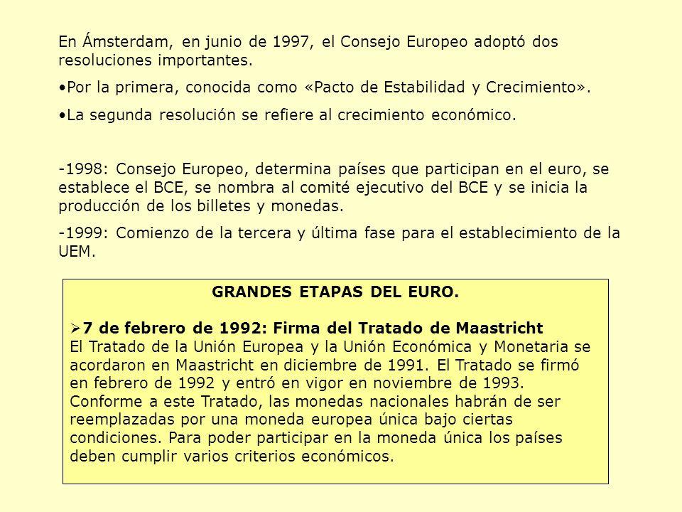 GRANDES ETAPAS DEL EURO.