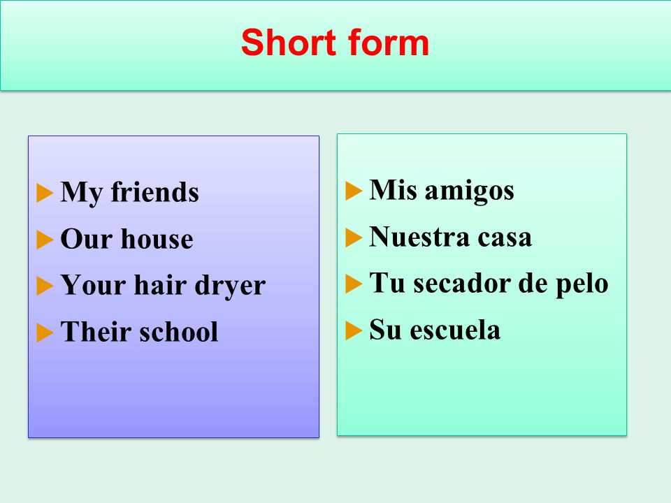Short form My friends Mis amigos Our house Nuestra casa