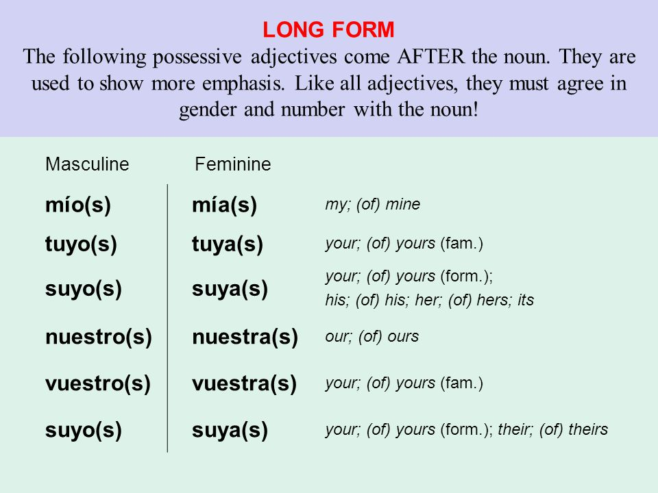 LONG FORM The following possessive adjectives come AFTER the noun