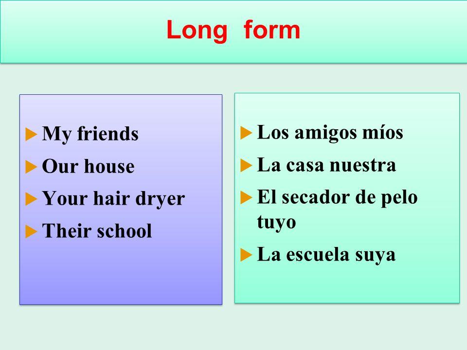 Long form My friends Los amigos míos Our house La casa nuestra