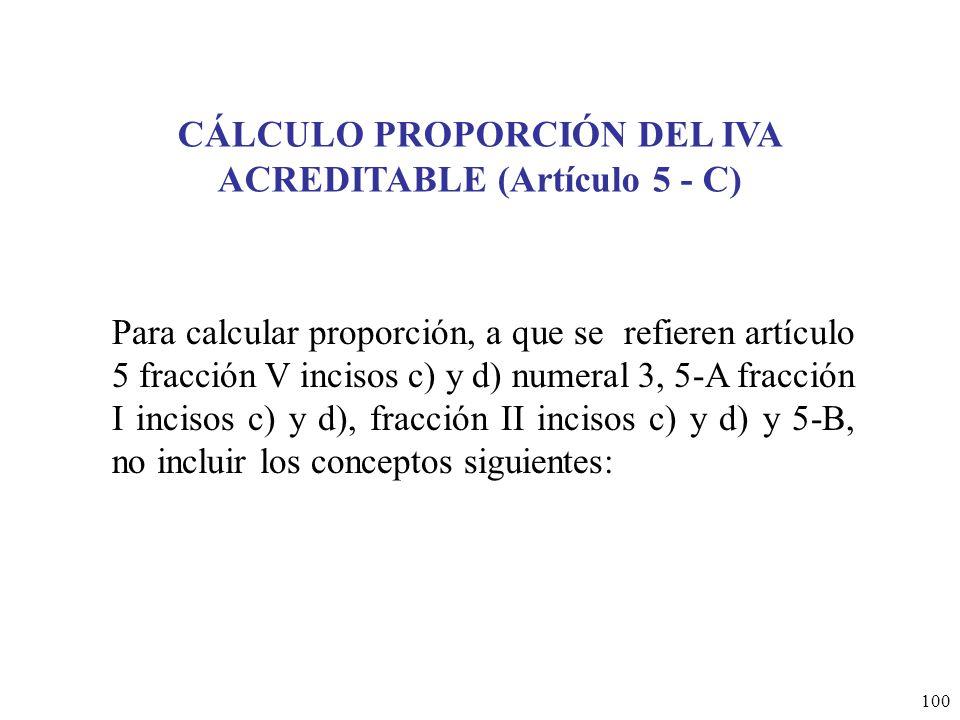 CÁLCULO PROPORCIÓN DEL IVA ACREDITABLE (Artículo 5 - C)